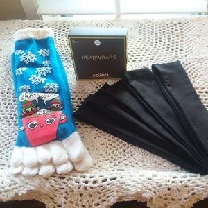 Headwraps toe socks bundle